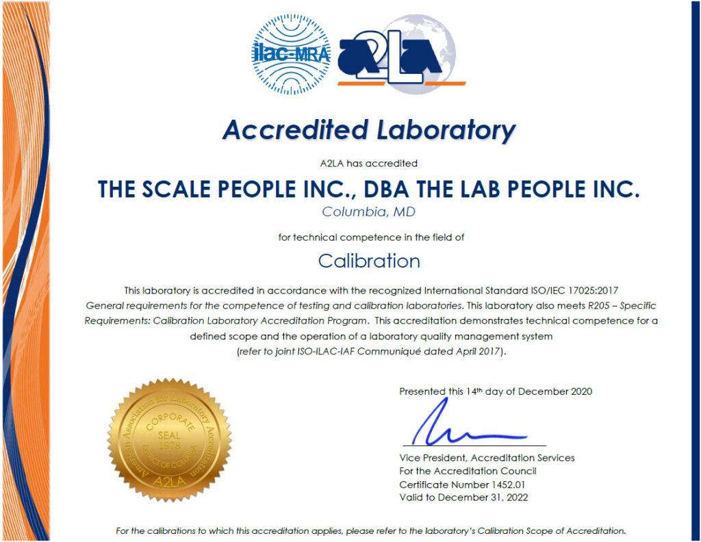 The Scale People A2LA Cert